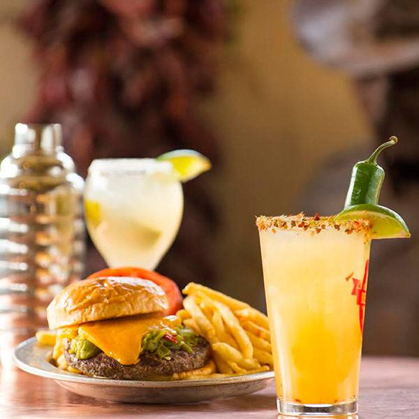 Del Charro Margarita & Green Chile Cheeseburger