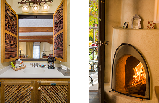 Bathroom and Fireplace