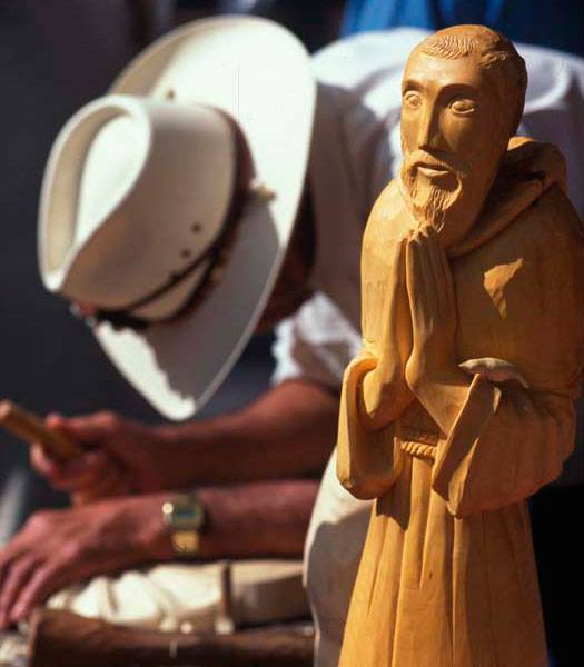 Wood carver working